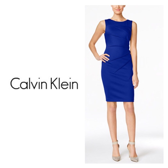 1576a32c Calvin Klein Dresses | Womens Sunburst Dress Blue Sz 14 Nwt | Poshmark